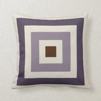 Cojín Decorativo Cuadrados geométricos del ciruelo de color de