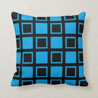 Cojín Decorativo Cuadrados negros y azules