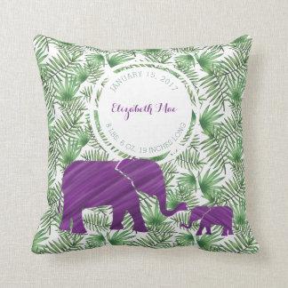 Cojín Decorativo Cuarto de niños púrpura del nacimiento del bebé de