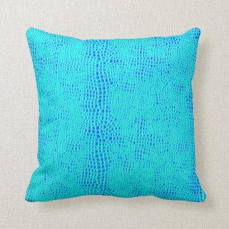 Cojín Decorativo Cuero azul de neón del vegano de la escala de la