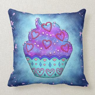 Cojín Decorativo Cupcake mono azules, rosa con cariño rosa/
