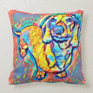 Cojín Decorativo Dachshund colorido del arte pop