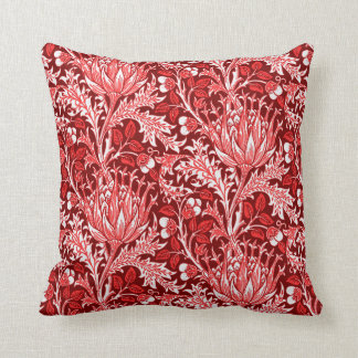 Cojín Decorativo Damasco de William Morris, rojo oscuro y blanco
