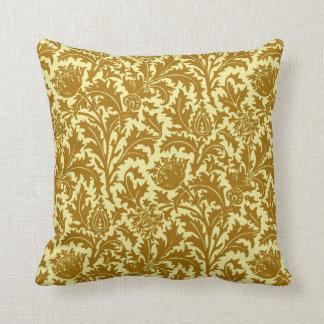 Cojín Decorativo Damasco del cardo de William Morris, oro de la