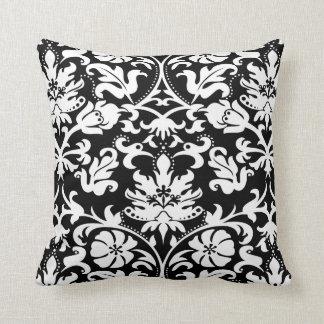 Cojín Decorativo Damasco floral blanco y negro