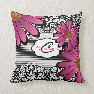 Cojín Decorativo Damasco y rayas florales negros, blancos y rosados