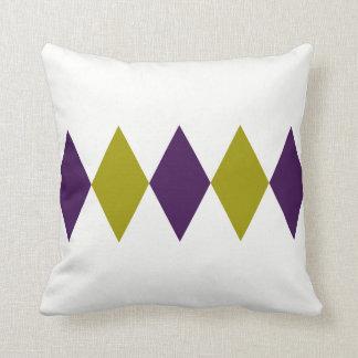 Cojín Decorativo Diamante púrpura y chartreuse retro