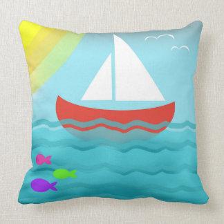 Cojín Decorativo Dibujo animado brillante del verano azul del mar
