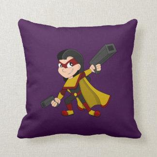 Cojín Decorativo Dibujo animado del chica del super héroe