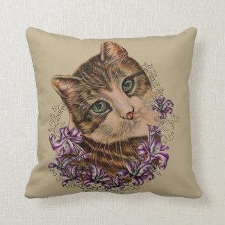 Cojín Decorativo Dibujo del arte del gato y de los lirios de Brown
