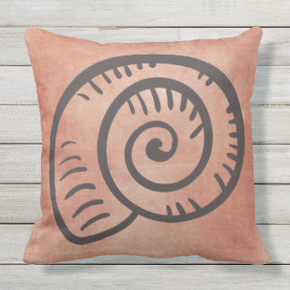 Cojín Decorativo Dibujo lineal de Shell del mar en el naranja