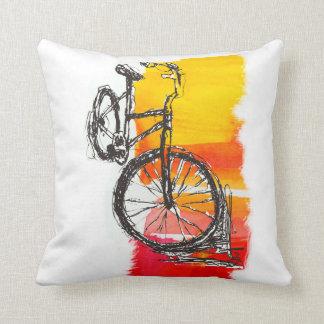 Cojín Decorativo Dibujo rojo colorido de la bici
