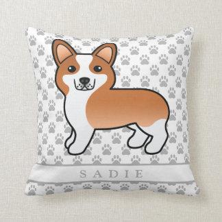 Cojín Decorativo Dibujo rojo del perro del Pembroke del Corgi Galés