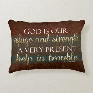 Cojín Decorativo Dios es nuestro verso cristiano Brown/oro de la