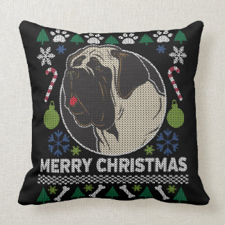 Cojín Decorativo Diseño feo del perro del suéter del navidad de