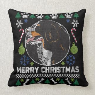 Cojín Decorativo Diseño feo del suéter del navidad del perro de