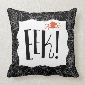 "Cojín Decorativo ¡""EEK! ""Diseño lindo asustadizo de Halloween de la"