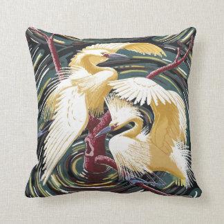Cojín Decorativo Egrets - diseño Repro de Barkcloth del vintage