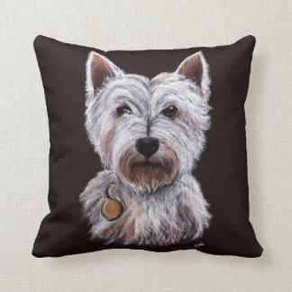 Cojín Decorativo Ejemplo del oeste del pastel del perro de Terrier