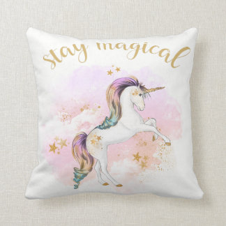 Cojín Decorativo El amortiguador del unicornio del arco iris,