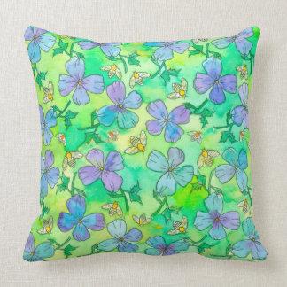 Cojín Decorativo El azul del bígaro florece abejas