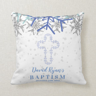 Cojín Decorativo El bautismo de plata del copo de nieve de los