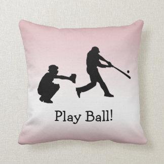 Cojín Decorativo El béisbol femenino rosado de la bola del juego se