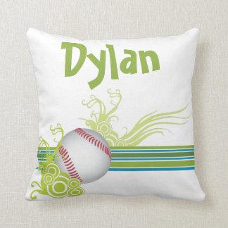 Cojín Decorativo El béisbol se divierte nombre personalizado juego