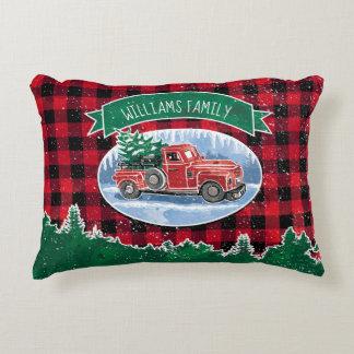 Cojín Decorativo El camión del vintage del navidad añade nombre