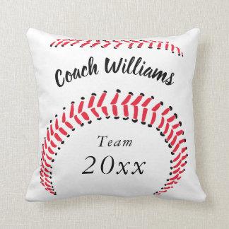 Cojín Decorativo El entrenador de béisbol añade nombre, el equipo y