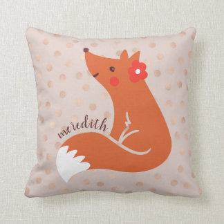 Cojín Decorativo El Fox lindo con la flor/se ruboriza fondo del