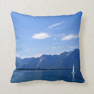 Cojín Decorativo El lago Lemán hermoso, MONTREUX, Suiza
