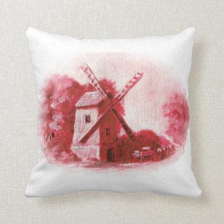 Cojín Decorativo El molino de viento, modelo rojo de Delft, gente
