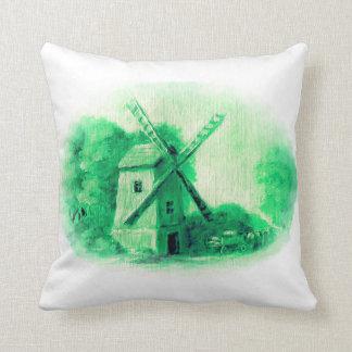 Cojín Decorativo El molino de viento, modelo verde de Delft, gente
