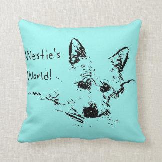 Cojín Decorativo ¡El mundo de Westie! Bosquejo de la tinta de un