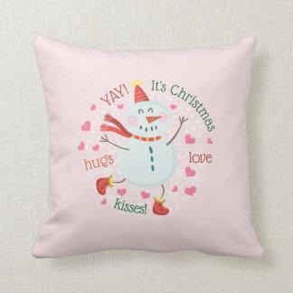 Cojín Decorativo El muñeco de nieve del navidad abraza rosa de los