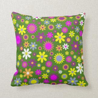 Cojín Decorativo El verde florece la decoración abstracta del hogar