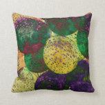 Cojín Decorativo El vintage hincha púrpura amarilla verde antigua