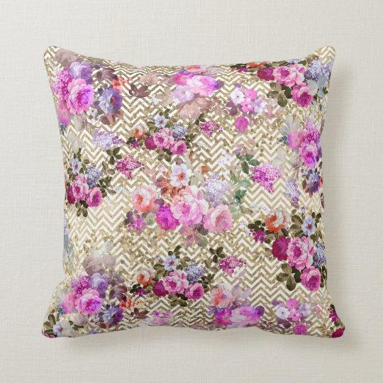 Cojín Decorativo El vintage se ruboriza falso galón floral rosado