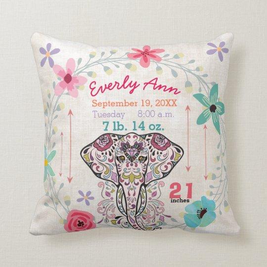 Cojín Decorativo Elefante de la criatura de la selva de la niña del