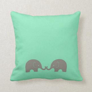 Cojín Decorativo Elefantes de la verde menta