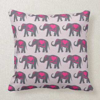 Cojín Decorativo Elefantes de rosas fuertes grises bonitos en