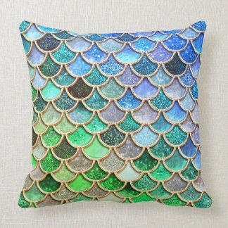Cojín Decorativo Escalas brillantes azulverdes de la sirena del