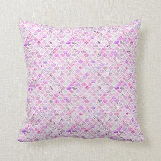Cojín Decorativo Escalas de mármol rosadas y púrpuras de la sirena