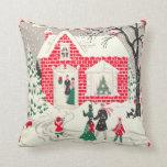 Cojín Decorativo Escena retra del navidad del vintage poca casa