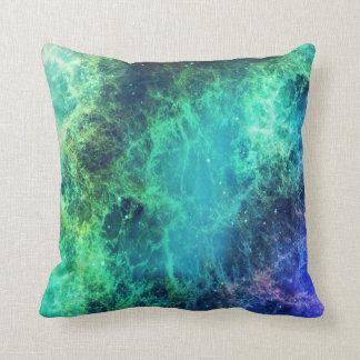 Cojín Decorativo Espacio azulverde de las llamas de la nebulosa