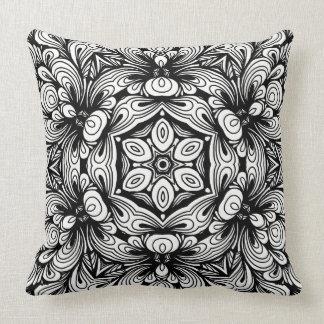 Cojín Decorativo Estampado de flores clásico complejo blanco y