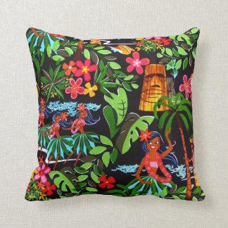 Cojín Decorativo Estampado de flores hawaiano exótico colorido de