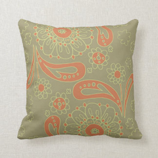 Cojín Decorativo Estampado de flores verde y anaranjado de la