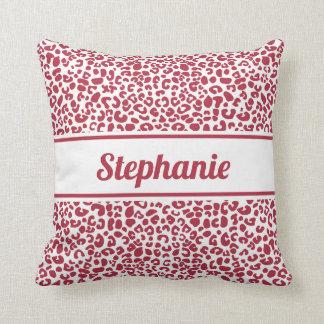 Cojín Decorativo Estampado leopardo rojo y blanco de moda con